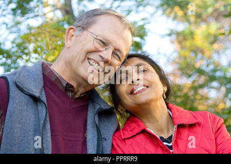 Senior couple from a mixed white and Indian (India) marriage. St Paul Minnesota MN USA - Stock Photo