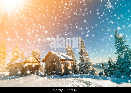 Fairy tale winter sunny landscape. Two weathered wooden shepherd huts on mountain snowy clearing among pine trees on colorful blue sky and snowflakes  - Stock Photo
