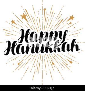 Happy Hanukkah greeting card or banner. Jewish holiday, handwritten lettering vector - Stock Photo