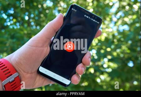MONTREAL, CANADA - August 28, 2018: Google Youtube Music android app on Samsung s8 screen. - Stock Photo