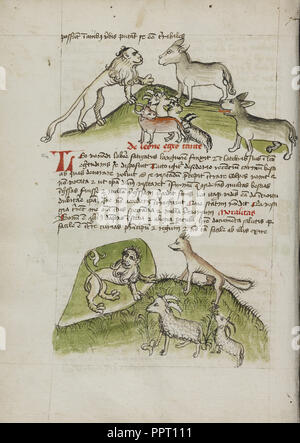Lions and a Donkey with Other Animals; A Lion in his Den and a Fox, Ram, and Goat; Trier, probably, Germany - Stock Photo