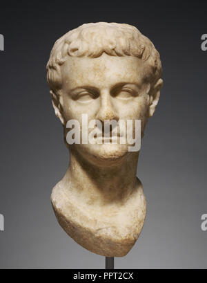 Head of Emperor Caligula; Asia Minor; about 40; Marble; 43 × 21.5 × 25 cm, 16 15,16 × 8 7,16 × 9 13,16 in - Stock Photo