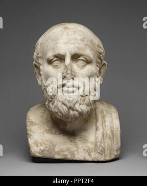 Herm Bust of a Greek Philosopher; Roman Empire; second half of 1st century; Italian marble; 38.5 × 27.4 × 26 cm - Stock Photo