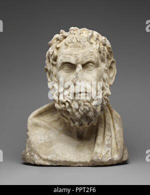 Herm Bust of a Greek Philosopher; Roman Empire; late 1st century; Italian marble; 39 × 31.3 × 19.5 cm - Stock Photo