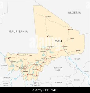 vector street map of the Republic of Mali. - Stock Photo