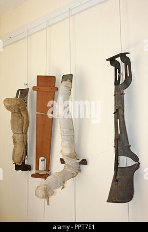Leg Braces and Prosthetics in The Dinorwic Quarry Hospital, Llanberis, Wales - Stock Photo
