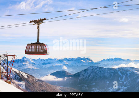 Cable Car and snow mountains panorama of French Alps near Chamonix, France. - Stock Photo