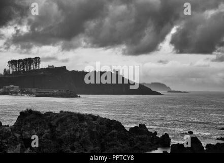 Coastal landscape in b/w - Stock Photo