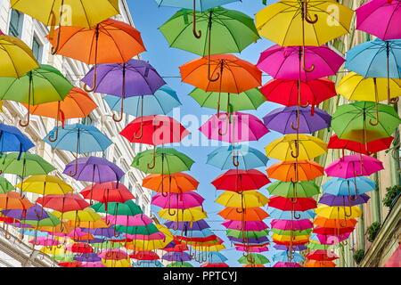 Street with colored umbrellas decoration, Timisoara, Romania
