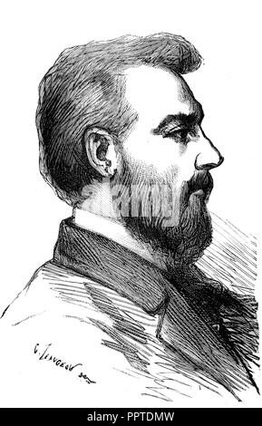 Alexander Graham Bell, 1847-1922, Scottish scientist and engineer, inventor of the telephone, print, 1867, France - Stock Photo