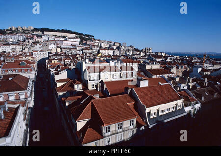 A view of the Baixa,Alfama and Castelo St.Jorge from the Santa Justa elevator,Lisbon,Portugal - Stock Photo