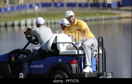 Paris, France. 27th Sep 2018. Jon Rahm of Spain during a training session of the Ryder Cup 2018 at The Golf National in Guyancourt, near Paris, France, 27 September 2018. The Ryder Cup 2018 runs from 25 to 30 September. EFE/ Luis Tejido Credit: EFE News Agency/Alamy Live News - Stock Photo