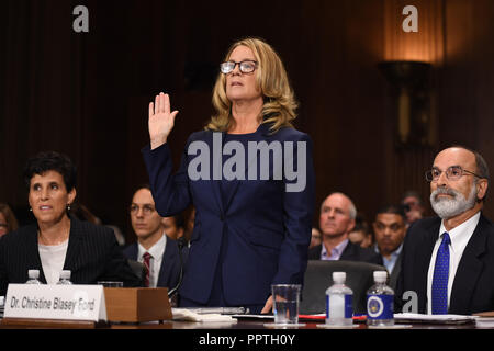 Christine Blasey Ford, the woman accusing Supreme Court nominee Brett Kavanaugh of sexually assaulting her at a party 36 years ago, testifies before the US Senate Judiciary Committee on Capitol Hill in Washington, DC, September 27, 2018.  / POOL / SAUL LOEB | usage worldwide