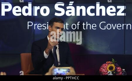 New York, United States. 27th Sep, 2018. Spanish Prime Minister Pedro Sanchez talks during an interview to News Agency Reuters in New York, USA, 26 September 2018. Credit: Ballesteros/EFE/Alamy Live News - Stock Photo