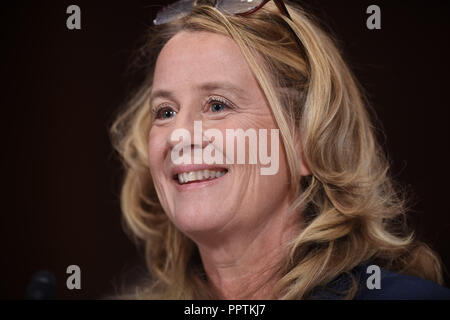 Christine Blasey Ford, the woman accusing Supreme Court nominee Brett Kavanaugh of sexually assaulting her at a party 36 years ago, testifies before the US Senate Judiciary Committee on Capitol Hill in Washington, DC, September 27, 2018. Credit: Pool via CNP/MediaPunch