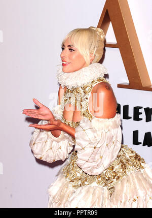 London, UK. 27th September, 2018. Lady Gaga attending A STAR is BORN - UK Premiere at the VUE West End ll London Thursday 27th September 2018. Credit: Peter Phillips/Alamy Live News - Stock Photo