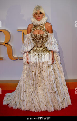 London, UK. 27th Sep 2018.Lady Gaga   Attending The London  Premiere of 'A Star is Born' held at VUE WEST END, Leicester square , Uk, Credit: Jason Richardson/Alamy Live News - Stock Photo