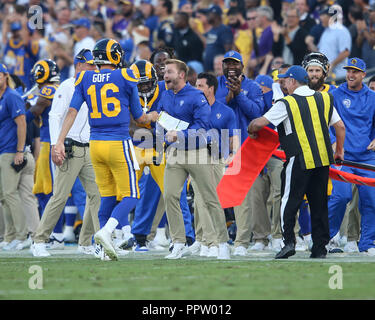Los Angeles, CA, USA. 27th Sep, 2018. during the NFL Minnesota Vikings vs Los Angeles Rams at the Los Angeles Memorial Coliseum in Los Angeles, Ca on September 27, 2018. Jevone Moore Credit: csm/Alamy Live News - Stock Photo