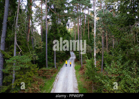 Mother and son wearing yellow jackets standing in the middle of gravel road in a forest from a drone on a autumn afternoon - Stock Photo