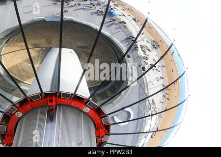 The glass viewing pod on the 162 metre observation tower that is the Brighton i360, on the seafront, in East Sussex, in the UK - Stock Photo