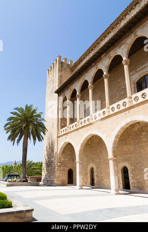 Almudaina Palace exterior view with defence bastion against blue sky, Palma de Mallorca, Balearic islands, Spain. Travel destination - Stock Photo