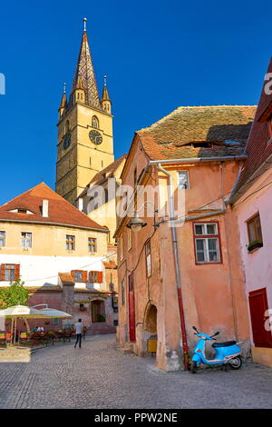 Evangelical Cathedral Tower, Sibiu old town, Romania - Stock Photo