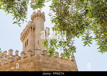 Almudaina Palace exterior walls with defence bastion against blue sky, Palma de Mallorca, Balearic islands, Spain. Travel destination - Stock Photo