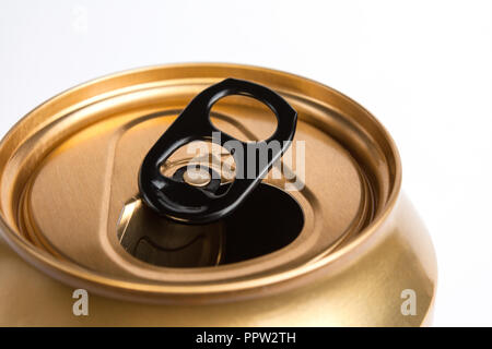 Top of an open golden aluminum can on a white background - Stock Photo