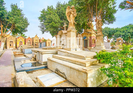 CAIRO, EGYPT - DECEMBER 23, 2017: The small Coptic cemetery located inside historical christian district, on December 23 in Cairo - Stock Photo