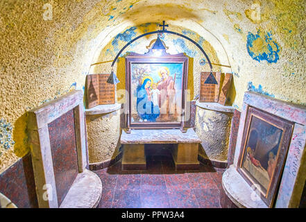 CAIRO, EGYPT - DECEMBER 23, 2017: The small Grotto in Assumption of Virgin Mary Church, the hiding place of the Holy Family during their flight into E - Stock Photo