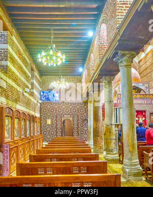The side aisle of St Barbara Church in Cairo, Egypt - Stock Photo
