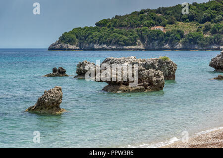 Rocks in the water of Limenia Beach, Kefalonia, Ionian Islands, Greece - Stock Photo