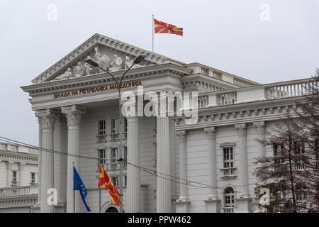 SKOPJE, REPUBLIC OF MACEDONIA - FEBRUARY 24, 2018:  Building of Government of the Republic of Macedonia in city of Skopje, Republic of Macedonia - Stock Photo