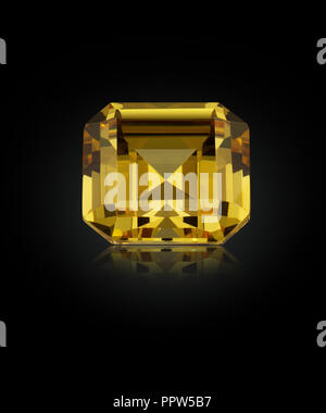 Asscher Cut Diamond Gemstone Gem Fancy Yellow - Stock Photo
