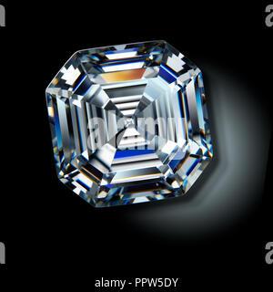 Asscher Cut Diamond Gemstone Gem - Stock Photo