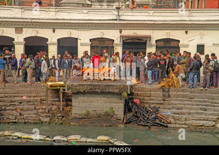 Funeral ghat at Pashupatinath Temple - Stock Photo