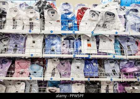 Miami Beach Florida Ross Department Store shopping inside display sale men's dress shirts wrapped - Stock Photo