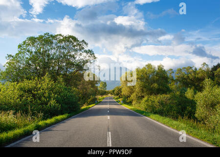 Scenic view from asphalt road in the mountains. Against the background of mountains, blue sky and clouds. High Tatras. Trees and bushes on both side o - Stock Photo
