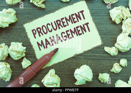 Handwriting text Procurement Management. Concept meaning buying Goods and Services from External Sources. - Stock Photo