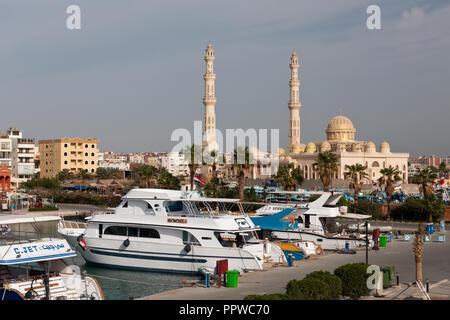 Scuba Diving Boats at Marina of Hurghada, Red Sea, Egypt - Stock Photo