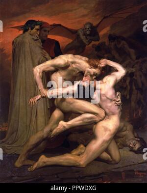 William-Adolphe Bouguereau (1825-1905) - Dante And Virgil In Hell (1850). - Stock Photo