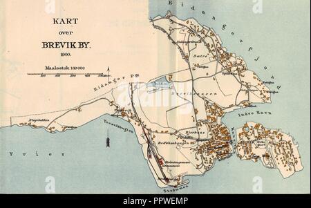 Brevik map 1900. - Stock Photo