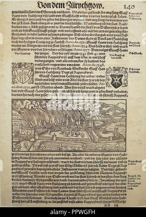 Brandschatzung von Rapperswil durch Zürich 1350 - Chronik Stumpf 1547-48 Faksimile - - Stock Photo