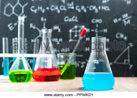 Science and medical Laboratory glassware. - Stock Photo