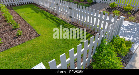 Sunlit yard with lawn white fence and shrubs - Stock Photo