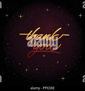 Thank you - hand lettering inscription to holiday design, black and white ink calligraphy - Stock Photo