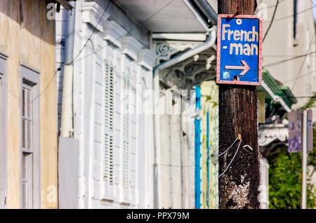 A sign marks Frenchmen Street, Nov. 15, 2015, in the New Orleans French Quarter in New Orleans, Louisiana. - Stock Photo