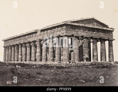 The Temple of Neptune, Paestum; Giorgio Sommer, Italian, born Germany, 1834 - 1914, Salerno, Italy; about 1855 - 1865; Albumen - Stock Photo