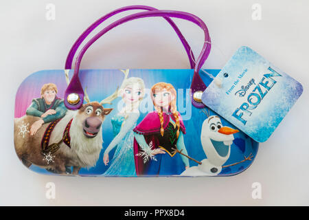 Sunglasses case with characters on from the movie Disney Frozen - Anna, Elsa, Olaf  isolated on white background - Stock Photo