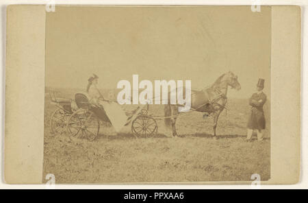 woman seated in a horse-drawn carriage,  man in top hat, standing; George P. Critcherson, American, 1823 - 1892, August 7, 1865 - Stock Photo